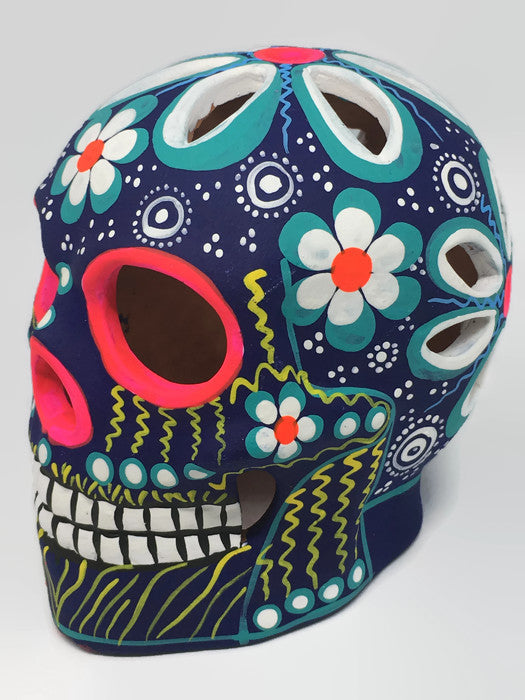 Large Flower Ceramic Calavera Matte