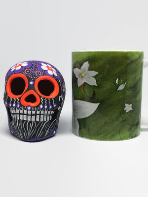 "3.75"" Medium Purple and White Flower Ceramic Calavera, Matte (in stock)"