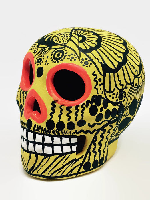 "3.75"" Medium Yellow Bird Flower Ceramic Skull Matte (in stock)"