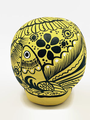 "3.75"" Medium Yellow Bird Flower Ceramic Skull Matte (ships in 2-8 weeks)"