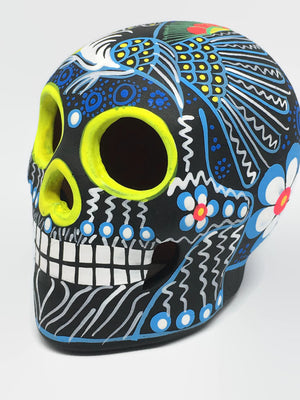Medium Blue and Yellow Bird Ceramic Calavera, Matte (ships in 2-8 weeks)