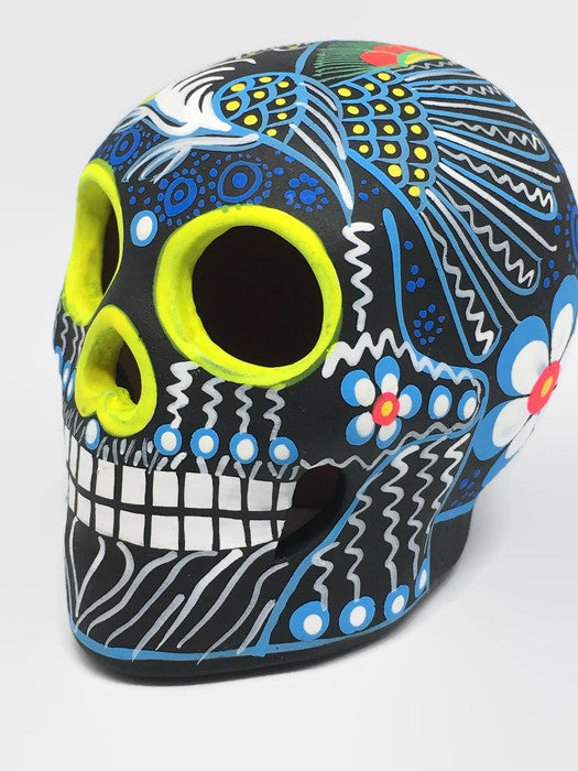 Medium Blue and Yellow Bird Ceramic Calavera, Matte