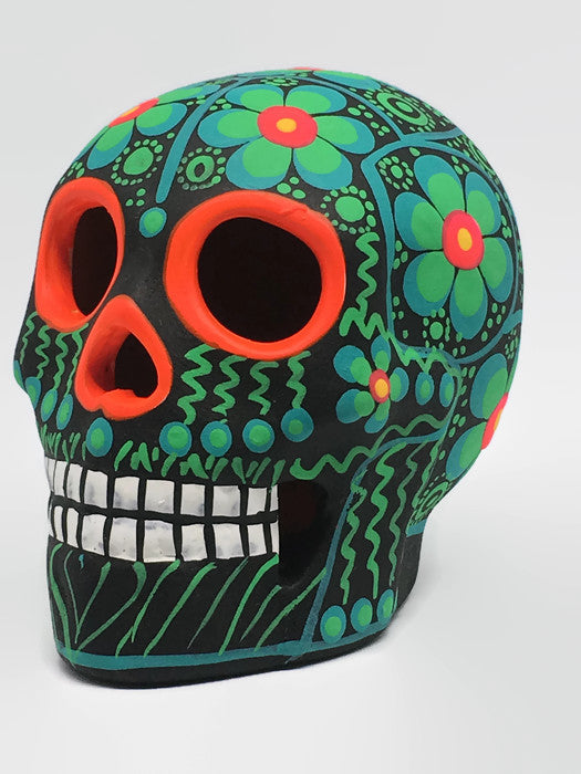 "3.75"" Medium Green Flower Ceramic Calavera, Matte (in stock)"