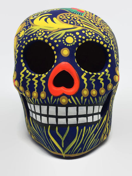 "3.75"" Medium Blue and Orange Bird Ceramic Calavera, Matte"