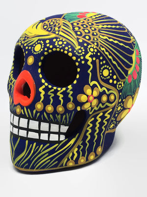 "3.75"" Medium Blue and Orange Bird Ceramic Calavera, Matte (ships in 2-8 weeks)"