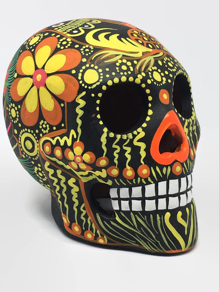 Medium Black and Orange Bird Ceramic Calavera, Matte