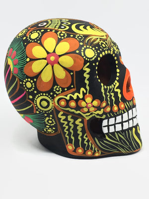 Medium Black and Orange Bird Ceramic Calavera, Matte (ships in 2-8 weeks)