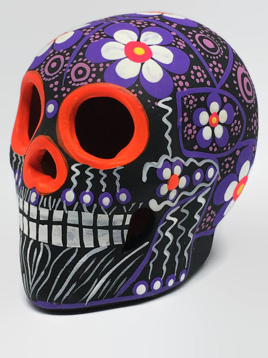 "3.75"" Medium Purple and White Flower Ceramic Calavera, Matte (ships in 2-8 weeks)"