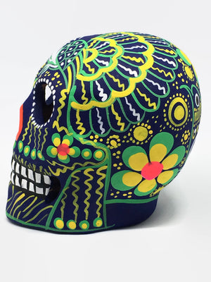 "3.75"" Medium Green and Yellow Ceramic Calavera, Matte (in stock)"