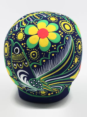 "3.75"" Medium Green and Yellow Ceramic Calavera, Matte (2-8 weeks)"