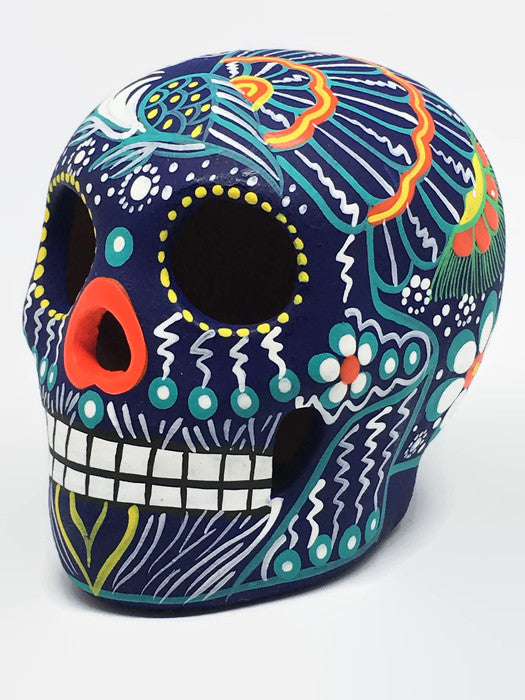 "3.75"" Medium Blue Bird Ceramic Calavera, Matte (in stock)"