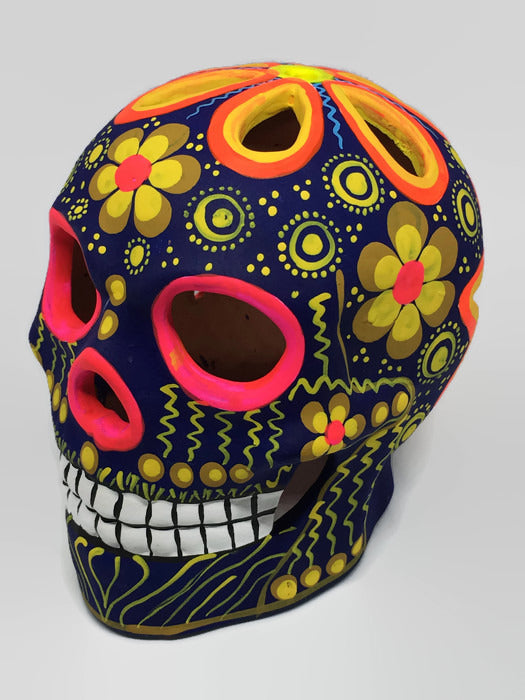 Large Blue, Yellow and Pink Flower Ceramic Calavera Matte  (ships in 2-8 weeks)