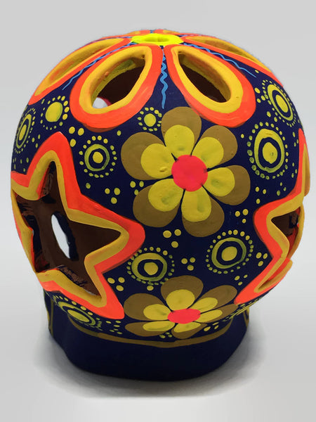 Large Blue, Yellow and Pink Flower Ceramic Calavera Matte