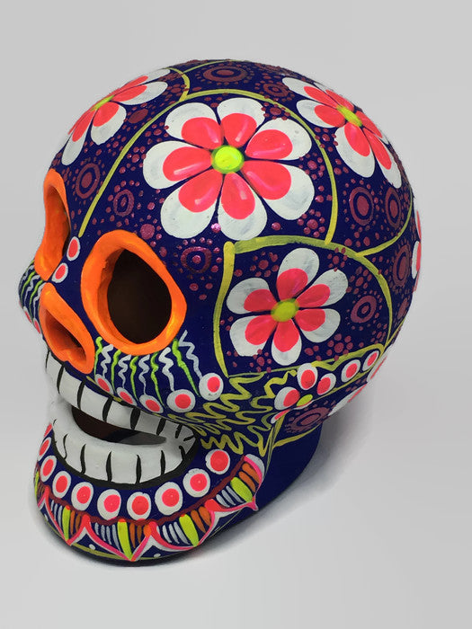 Large Magenta Flower Ceramic Calavera, Matte (ships in 4-8 weeks)
