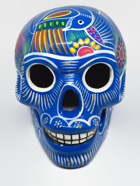 Large Hand-painted Blue Ceramic Calavera, Glossy