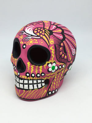 "3.75"" Medium Pink and Black Bird Ceramic Calavera, Matte (ships in 2-8 weeks)"
