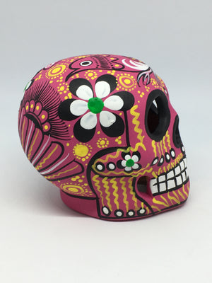 "3.75"" Medium Pink and Black Bird Ceramic Calavera, Matte (in stock)"