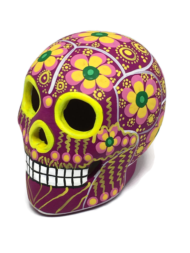 "3.75"" Medium Pink, Yellow and Green Flower Ceramic Sugar Skull Matte (ships in 2-8 weeks)"