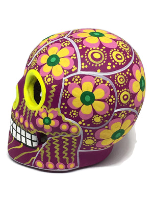 "3.75"" Medium Pink, Yellow and Green Flower Ceramic Sugar Skull Matte (in stock)"