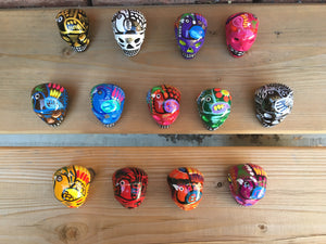 Six (6) Miniature Ceramic Sugar skulls with strings, assorted colours (2-8 weeks)
