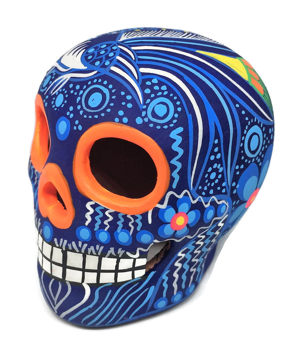 "3.75"" Medium Blue Bird Ceramic Calavera, Matte (ships in 2-8 weeks)"