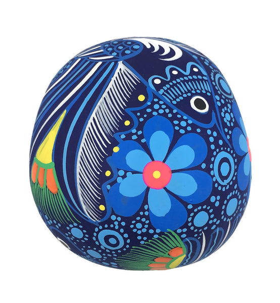 "3.75"" Medium Blue Bird Ceramic Calavera, Matte"