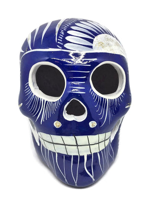 Medium Hand-Painted Blue and White Ceramic Sugar Skull Glossy (ships in 2-8 weeks)