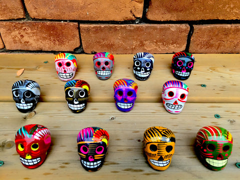 Assortment of Small Ceramic Sugar skulls, Three Count