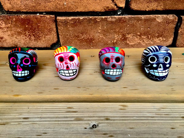 Assortment of Small Ceramic Sugar skulls, Two Count