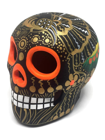 Medium Black and Gold Bird Ceramic Calavera, Matte