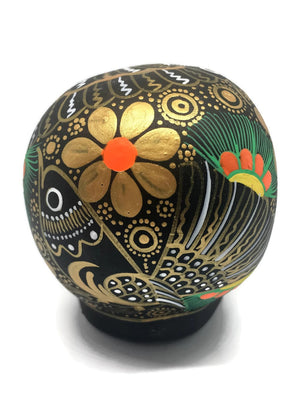 "3.75"" Medium Black and Gold Bird Ceramic Calavera, Matte (in stock)"