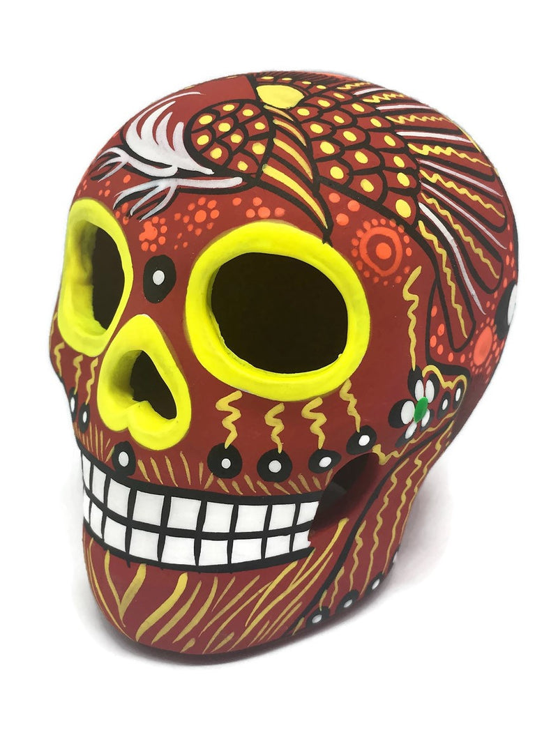 "3.75"" Medium Red Bird Ceramic Calavera, Matte (in stock)"