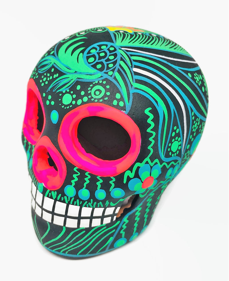 Medium Green and Black Bird Ceramic Calavera, Matte (ships in 2-8 weeks)