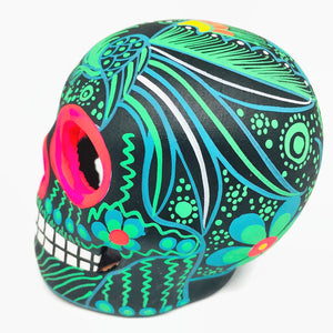 Medium Green and Black Bird Ceramic Calavera, Matte (in stock)