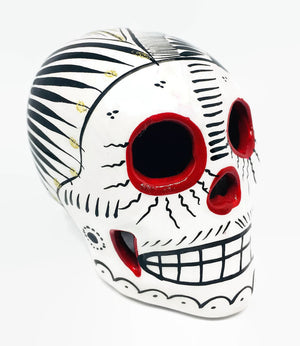 "3.75"" Medium White, Black and Red Ceramic Skull Glossy (ships in 2-8 weeks)"