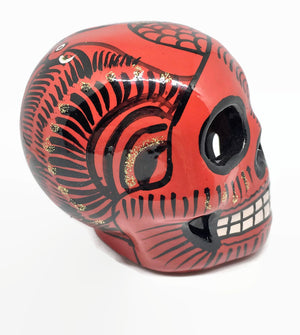 Medium Red, Black and Gold Ceramic Skull Glossy (ships in 2-8 weeks)