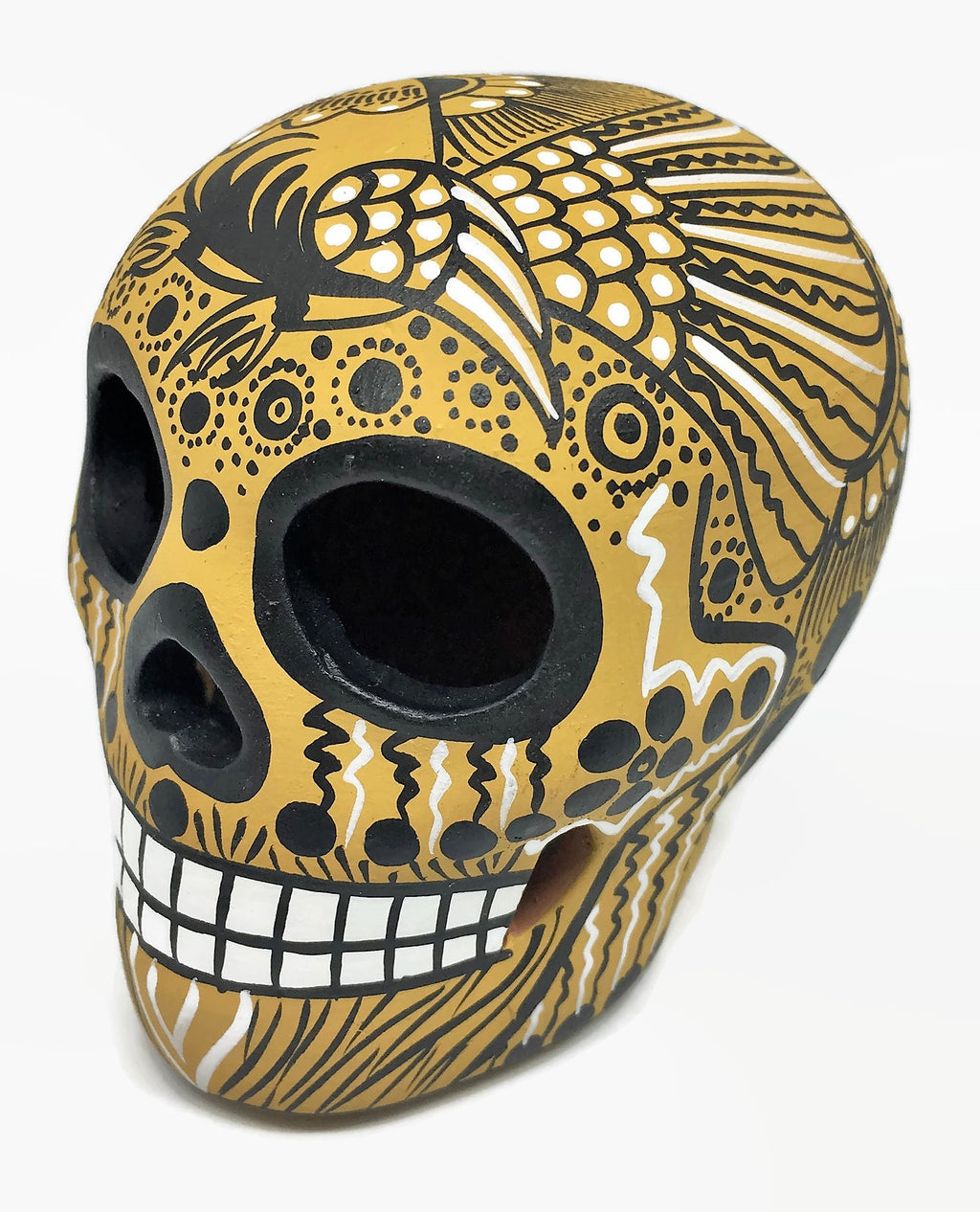 "3.75"" Medium Mustard, Black and White Bird Ceramic Calavera, Matte (in stock)"