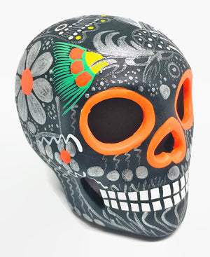 "3.75"" Medium Black and Silver Bird Ceramic Calavera, Matte (in stock)"
