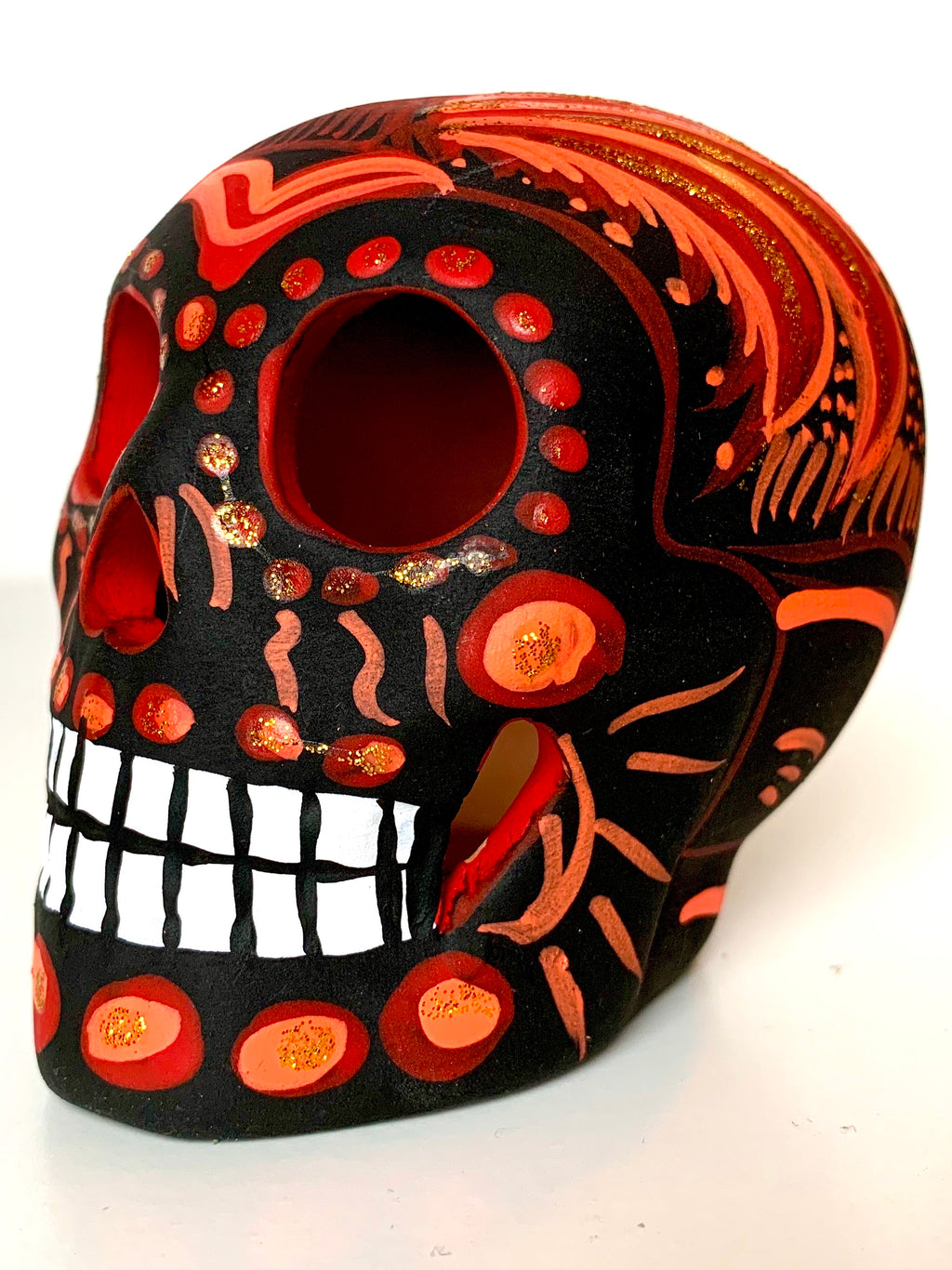 "3.75"" Medium Ceramic Calavera, Matte,  Black & Red (in stock)"