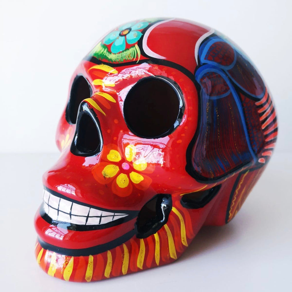Large Hand-painted Ceramic Skull Glossy (red)