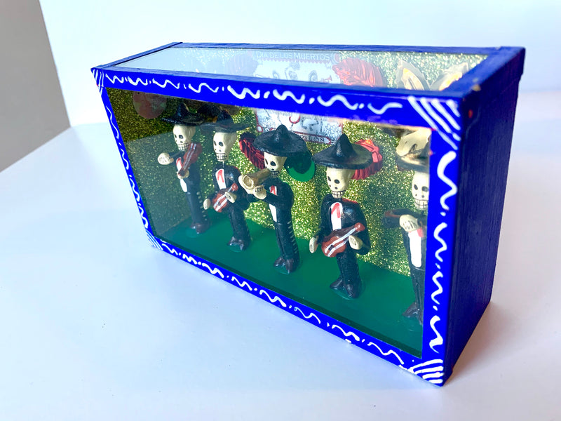 Blue Day of the Dead Nicho - Mariachi Band (in stock)