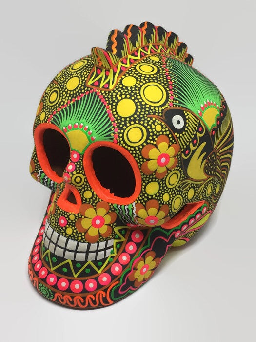 "7"" Large Yellow Ceramic Skull Matte (ships within 4-8 weeks)"