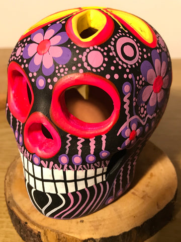 "3.75"" Purple and Pink Medium Ceramic Calavera, Matte"