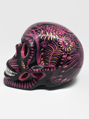Large Black and Pink Ceramic Calavera Glossy (ships in 4-8 weeks)
