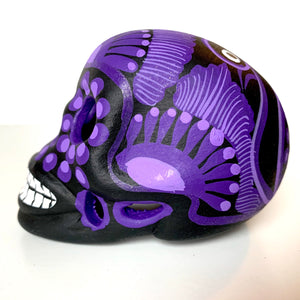 "3.5"" Hand-painted Ceramic Calavera, Matte, MH Black & Purple (in stock)"