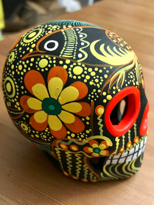 "3.75"" Medium black and Orange Bird Ceramic Calavera, Matte (ships in 2-8 weeks)"