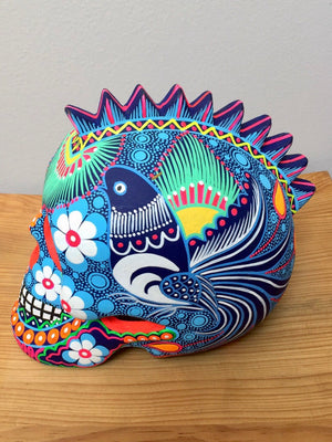 "7"" Large Hand-Painted Blue Punk Skull Matte (pre-order only) (ships within 4-8 weeks)"