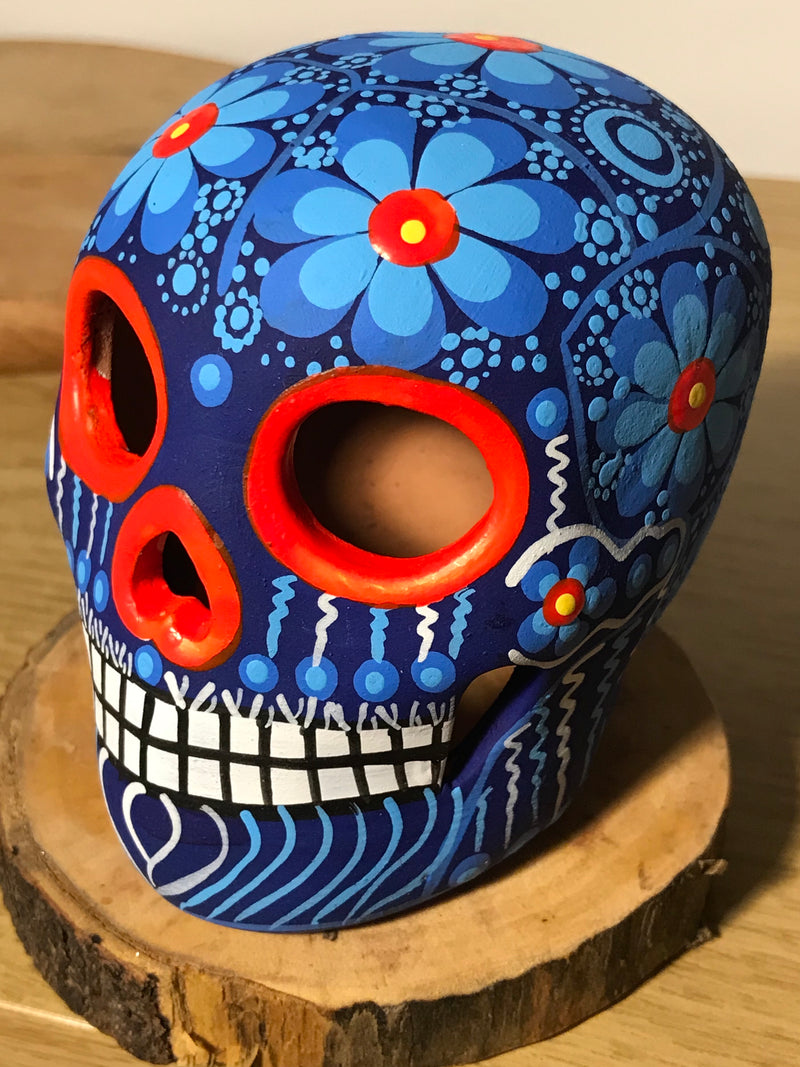"3.75"" Blue and Orange Medium Ceramic Calavera, Matte (in stock)"