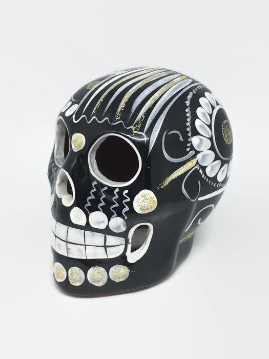 Medium Black, White and Gold Ceramic Skull Glossy (ships in 2-8 weeks)