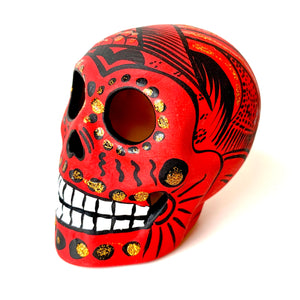 "3.75"" Medium Ceramic Calavera, Matte,  Red (in stock)"